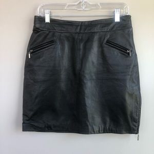 Black Leather Skirt with Side Zip Size 6